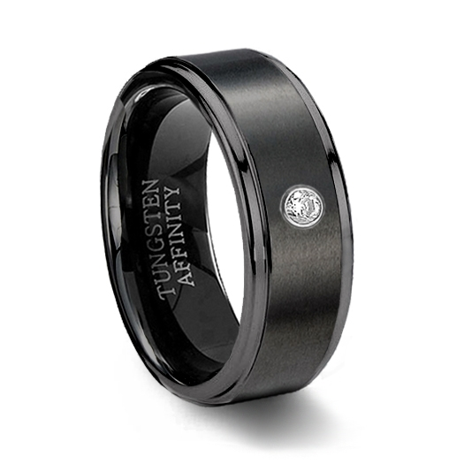 Black Ceramic Wedding Band CZ Mens Black Ceramic Ring