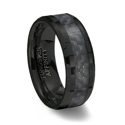 black ceramic ring black carbon fiber inlay - Carbon Fiber Wedding Rings