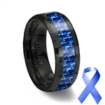 Blue Carbon Fiber Inlay Black Ceramic Wedding Ring