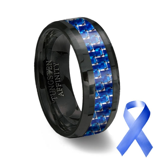 blue carbon fiber inlay black ceramic wedding ring - Black And Blue Wedding Rings