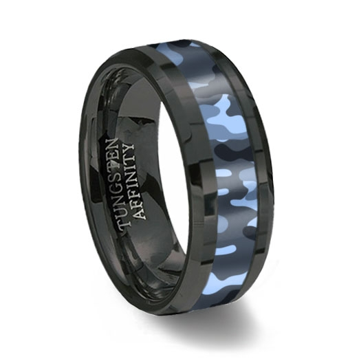 blue camouflage inlay black ceramic wedding ring - Mens Camo Wedding Rings
