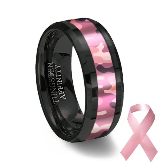 Black Ceramic & Pink Camouflage Ring | Wedding Band
