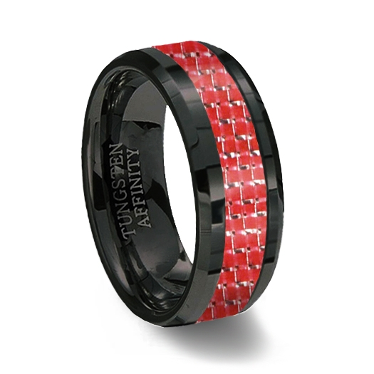 Black Ceramic Red Carbon Fiber Ring Red Wedding Band