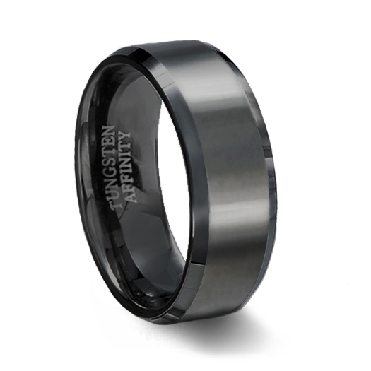 Black Ceramic Polished Finish Ring With Beveled Edges Mens Black