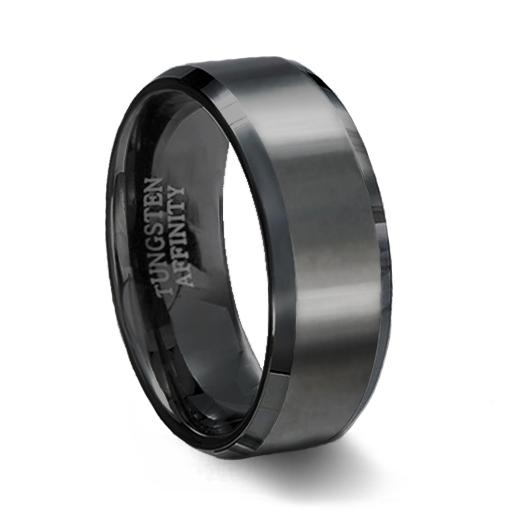 brushed black ceramic wedding ring