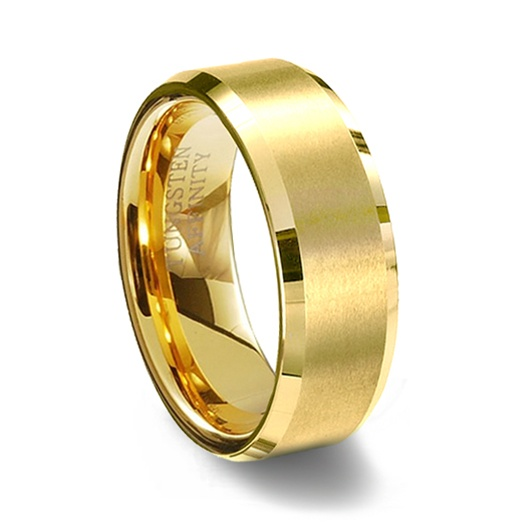 Gold Brushed Finish Tungsten Carbide Wedding Ring Polished Beveled Edge