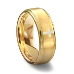Gold Brushed Tungsten Cross Wedding Ring