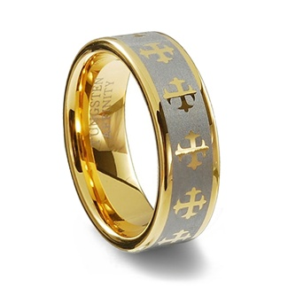 Gold Colored Tungsten Carbide Laser Designed Cross Ring
