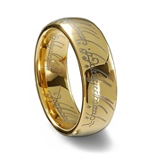 Gold Tungsten Carbide Laser Engraved Elvish LOTR Ring