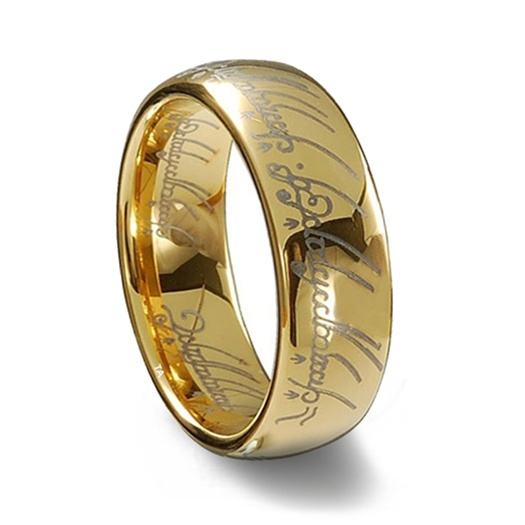 lord of the rings gold plated tungsten one ring - The One Ring Wedding Band