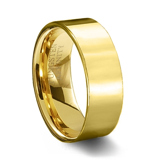 Gold Tungsten Carbide Wedding Ring & Polished Pipe Cut