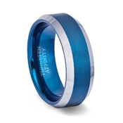 Brushed Blue Tungsten Carbide Ring Polished Beveled Band