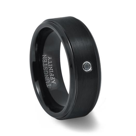 black tungsten ring with black diamond