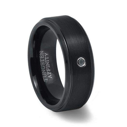 Mens Black Tungsten Wedding Bands.Brushed Black Tungsten Ring With Black Diamond Polished Edges