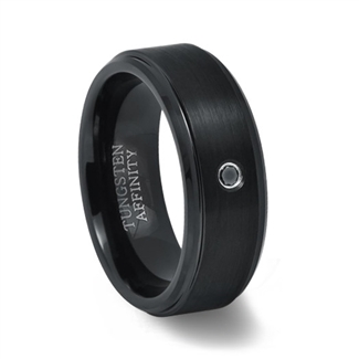 Black Tungsten Ring with Black Diamond