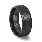 Black Tungsten Ring with Hammered Finish