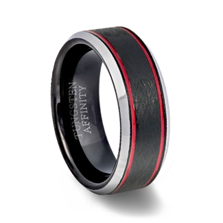 Red Channel Black Tungsten Brushed finish Wedding Ring