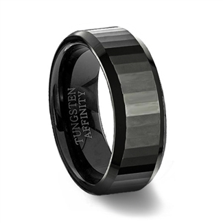 Faceted Black Ceramic Wedding Ring with Beveled Edges