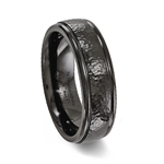 Black Titanium Hammered Ring