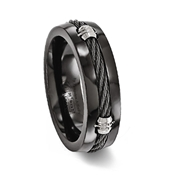 Black Plated Titanium Cable Inlay Ring