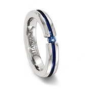 Titanium Blue Channel Ring with Sapphire Stone