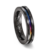 Black Plated Titanium Multi-colored channel Ring