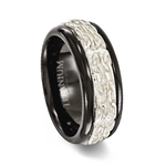 Black Titanium Ring with Silver Sterling Silver Pattern Inlay
