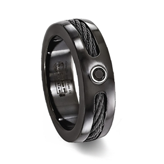 Black Titanium Ring withCable Inlay & Black Stone