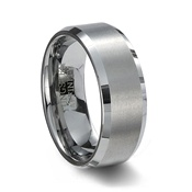 Brushed Finish Tungsten Carbide Wedding Band & Polished Beveled Edge