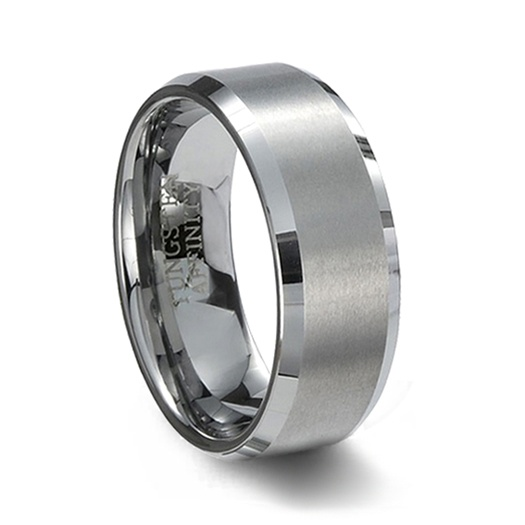 brushed finish tungsten carbide wedding band polished beveled edge - Tungsten Wedding Rings