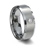 Brushed Tungsten Wedding Band with CZ & Beveled Edges