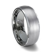Brushed Domed Tungsten Wedding Band & Polished Edge