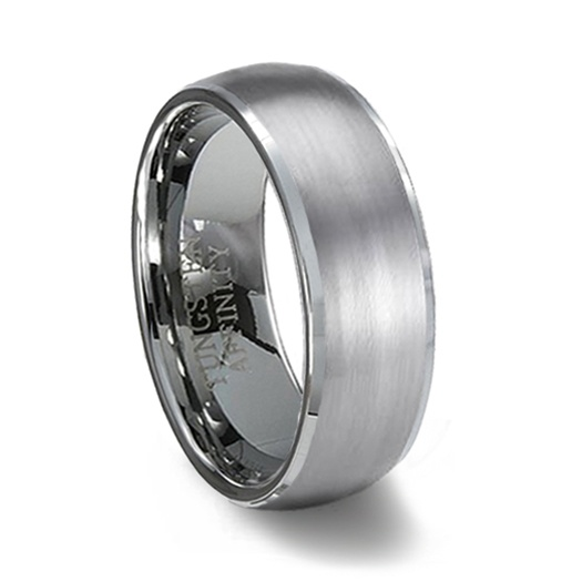 brushed finish domed tungsten wedding band polished edge