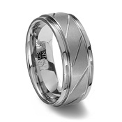 Brushed Finish Tungsten Carbide Ring with Diagonal Grooves