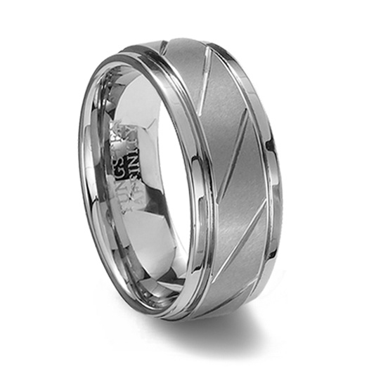 brushed finish tungsten carbide ring diagonal grooves - Tungsten Carbide Wedding Rings