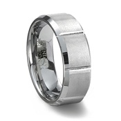 Slotted Brushed Tungsten Ring