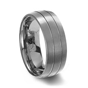 Brushed Finish Tungsten Carbide Ring & 2 Polished Grooves
