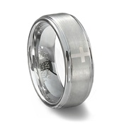 Brushed Finish Tungsten Carbide Cross Wedding Ring