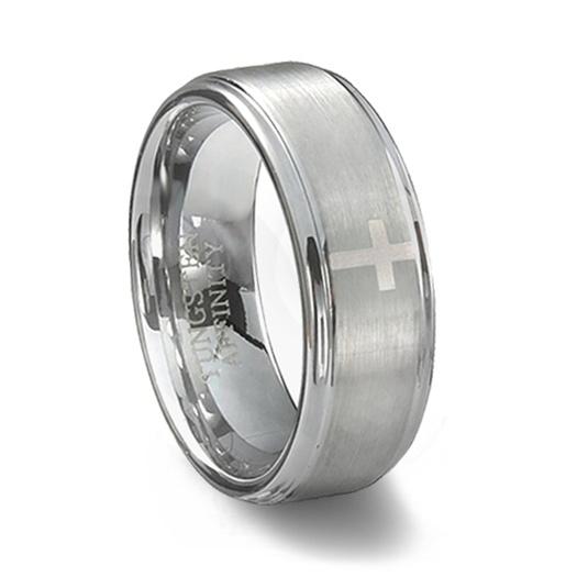 Brushed Tungsten Carbide Cross Wedding Band | Men's Cross Ring
