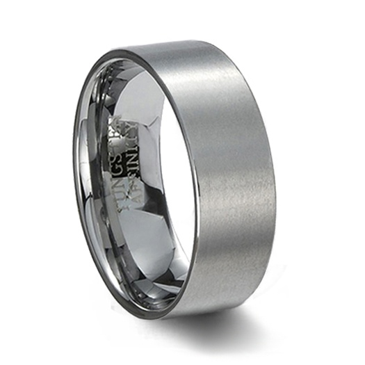 Brushed Tungsten Carbide Pipe Cut Wedding Band