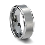 Brushed Finish Tungsten Carbide Wedding Band & Step Edge