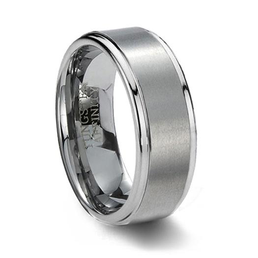 Brushed Finish Tungsten Carbide Wedding Band Step Edge
