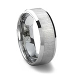 Horizontally Brushed Finish Tungsten Wedding Band & Beveled Edge