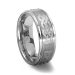 Brushed Finish Tungsten Carbide Ring with Laser Engraved Celtic Knot