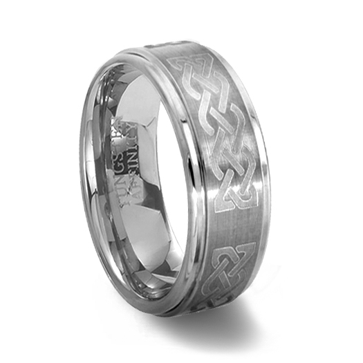 Brushed Finish Tungsten Carbide Ring with Celtic Knot