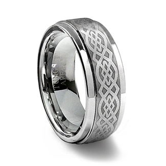 Brushed Finish Tungsten Carbide Laser Designed Celtic Ring