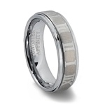 Mens Tungsten Carbide Roman Numeral Ring