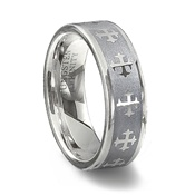 Tungsten Carbide Laser Designed Brushed Cross Ring