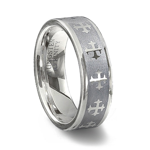 Tungsten carbide cross ring couples cross wedding band for Mens fishing wedding bands