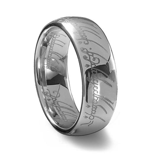 silver tungsten carbide laser engraved elvish lotr ring - Elvish Wedding Rings